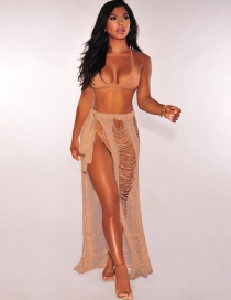 Sexy Beige Hollow Out Design Pure Color Dress
