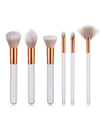Fashion White Round Shape Decorated Makeup Brush(6 Pcs)