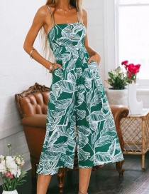 Fashion Green Leaf Pattern Decorated Jumpsuit