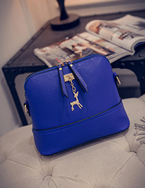 Fashion Blue Deer Shape Decorated Shoulder Bag