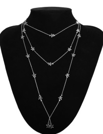 Fashion Silver Color Star Shape Decorated Multi-layer Necklace