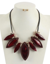 Fashion Red Geometric Shape Decorated Necklace