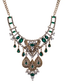 Fashion Gold Color+green Full Diamond Decorated Necklace