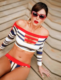 Sexy Red Stripe Pattern Decorated Swimwear