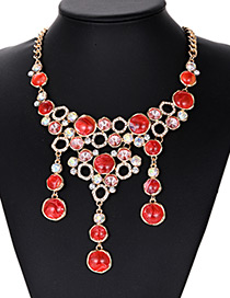 Fashion Red Full Diamond Decorated Necklace