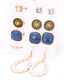 Fashion Gold Color Water Drop&square Shape Decorated Earrings&Rings (12 Pcs )