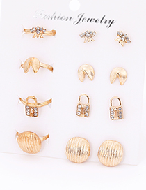 Fashion Gold Color Lock Shape Decorated Earrings&Rings (12 Pcs )