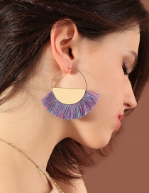 Fashion Purple Semicircle Shape Decorated Earrings