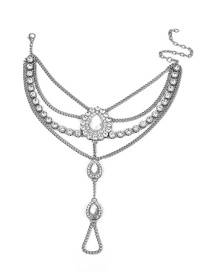 Fashion Silver Color Water Drop Shape Decorated Anklet (1 Pc)