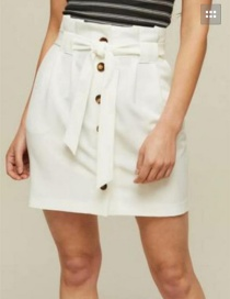 Fashion White Button Decorated Pure Color Skirt