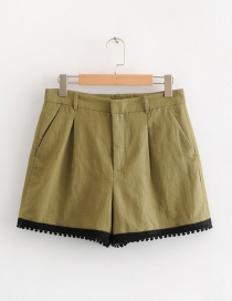 Fashion Olive Green Pure Color Decorated Shorts