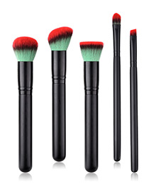 Fashion Black Oblique Shape Decorated Makeup Brush (5 Pcs )