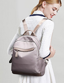 Fashion Gray Pure Color Design Leisure Backpack