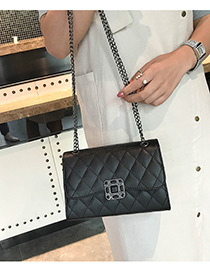 Fashion Black Grid Pattern Decorated Pure Color Bag