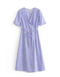 Fashion Purple Flowers Pattern Decorated V Neckline Dress
