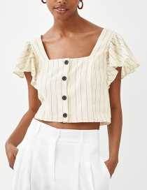 Fashion Beige Stripe Pattern Decorated Simple Blouse