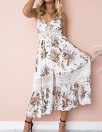 Fashion White Flower Pattern Decorated Suspender Dress