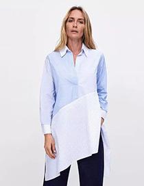 Fashion Blue Stripe Pattern Decorated Asymmetric Shirt
