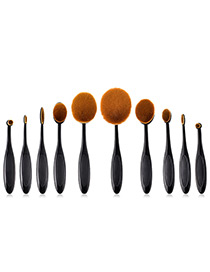 Fashion Black Toothbrush Shape Design Cosmetic Brush(10pcs)