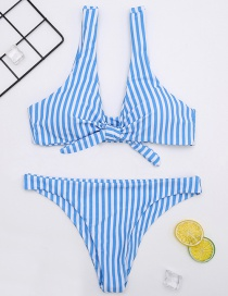 Fashion Blue Stripe Pattern Decorated Swimwear