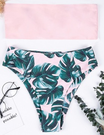 Fashion Pink Leaf Pattern Decorated Swimwear
