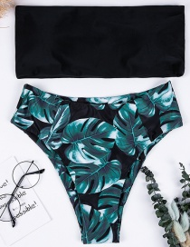 Fashion Black Leaf Pattern Decorated Swimwear