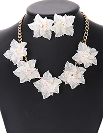 Elegant Beige Flowers Decorated Pure Color Jewelry Sets