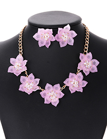 Elegant Light Pink Beads&flower Decorated Jewelry Sets