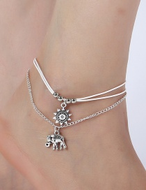 Elegant Silver Color Sunflower&elephants Decorated Anklet