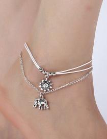 Elegant Silver Color Sunflower&elephants Decorated Anklet
