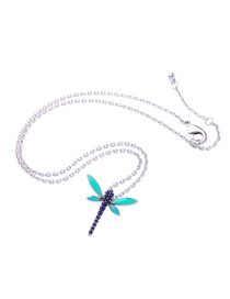 Elegant Silver Color Dragonfly Pendant Decorated Necklace