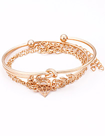 Elegant Gold Color Leaf Decorated Pure Color Bracelet(4pcs)