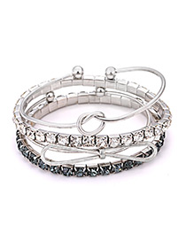 Elegant Silver Color Diamond&balls Decorated Bracelet(4pcs)