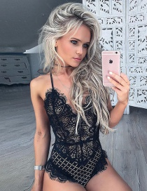 Sexy Black Hollow Out Design Pure Color Jumpsuit