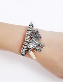 Fashion Silver Color Elephant&flower Decorated Bracelet