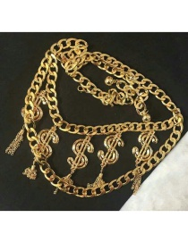 Fashion Gold Color Tassel Decorated Pure Color Necklace