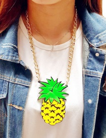 Fashion Yellow Pineapple Pendant Decorated Necklace