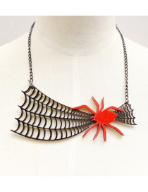 Fashion Red Spider Pendant Decorated Necklace