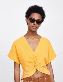 Elegant Yellow Pure Color Design V Neckline Blouse