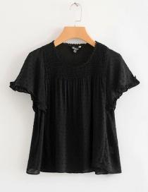 Vintage Black Pure Color Design Short Sleeves Shirt