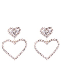 Elegant Gold Color Full Diamond Design Heart Shape Earrings