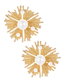 Fashion Gold Color Pearls Decorated Geometric Shape Earrings