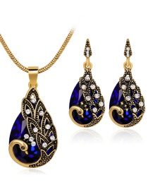 Elegant Blue Swan Pendant Decorated Jewelry Sets