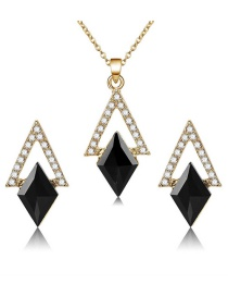 Elegant Black Geometric Shape Pendant Decorated Jewelry Sets