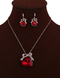Elegant Red Heart Shape Pendant Decorated Jewelry Sets