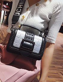 Fashion Silver Color Square Shape Buckle Decorated Bag