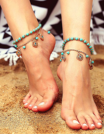 Fashion Blue+gold Color Flower Shape Decorated Ankle Chain