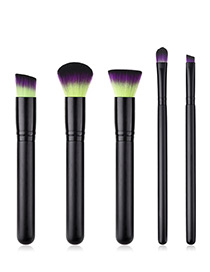 Fashion Black Flat Shape Decorated Makeup Brush(5pcs)