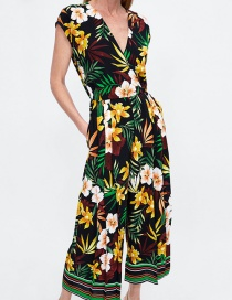 Fashion Multi-color V Neckline Design Flower Pattern Jumpsuit