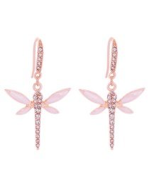 Fashion Pink Dragonfly Shape Design Earrings